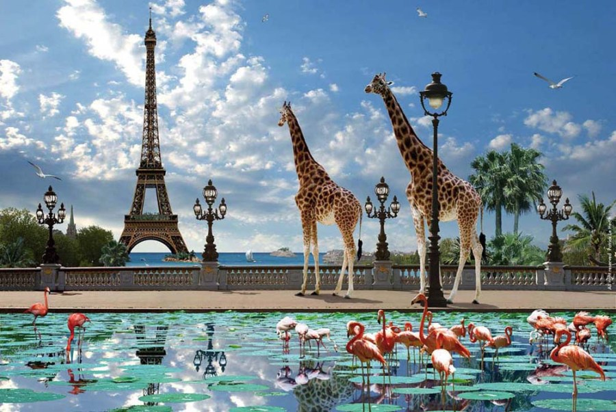 "Girafe Eiffel - Collection ""Waterworld"" (107x107 cm) - Giraffe Eiffel - Collection ""Waterworld"" by Patrick Le Hec'h - N°6 - Edition Limitée / Limited Edition 10"