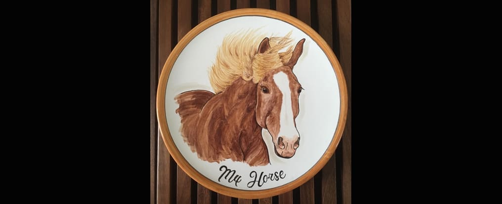 Your horse painted on a plate finish