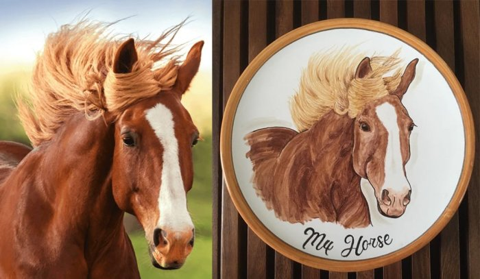 Horse painted on a Plate
