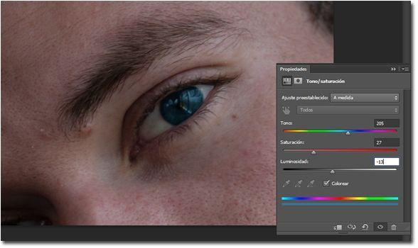 Como cambiar el color de ojos en Photoshop 07_tono saturacion