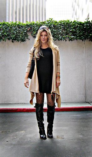 leather boots+leopard tights+sweater dress+cat eye sunglasses+blonde hair+light+sharp, por ...love Maegan