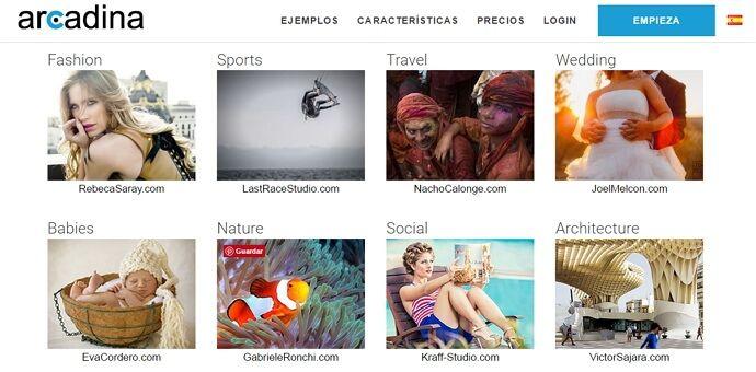 ejemplos de webs creadas con arcadina