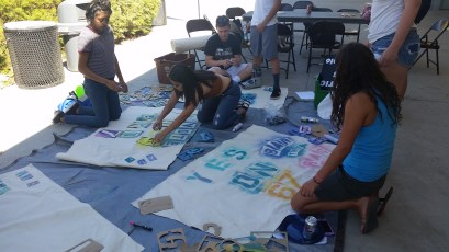 Making banners and posters at the youth summit
