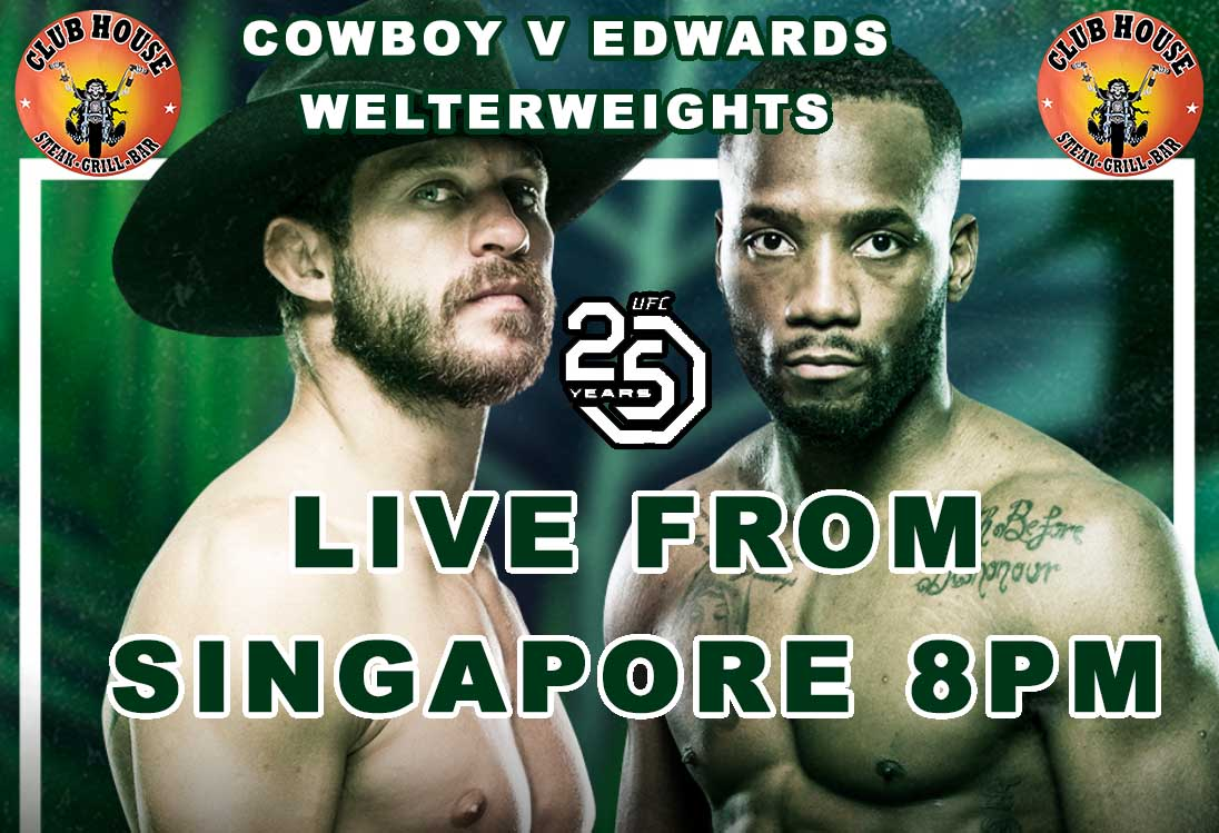 UFC Cowboy v Edwards Live at the Clubhouse Steak Grill & Bar in Sanur