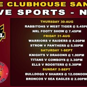 Live Sports Clubhouse Sanur NRL RUGBY THURSDAY 30-Aug