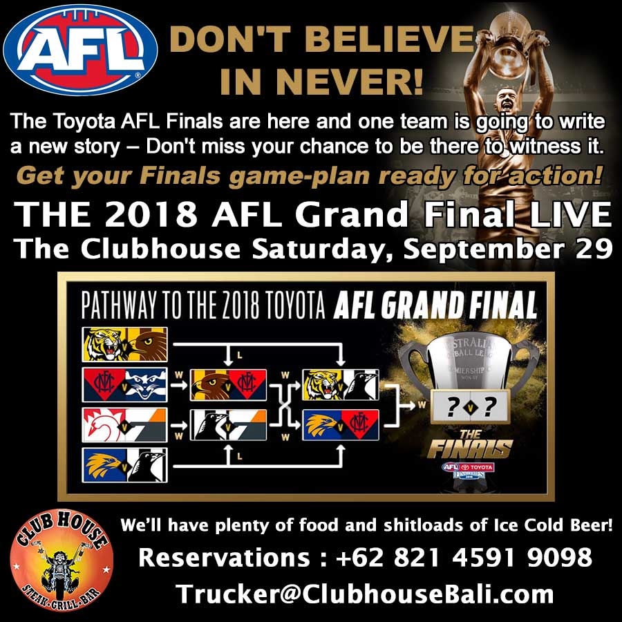 2018 AFL Grand Final Clubhouse Steak Grill Bar Sanur