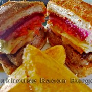 Bacon Burger - 130K Beef patty topped with bacon, cheese, egg and beetroot, served with our salad