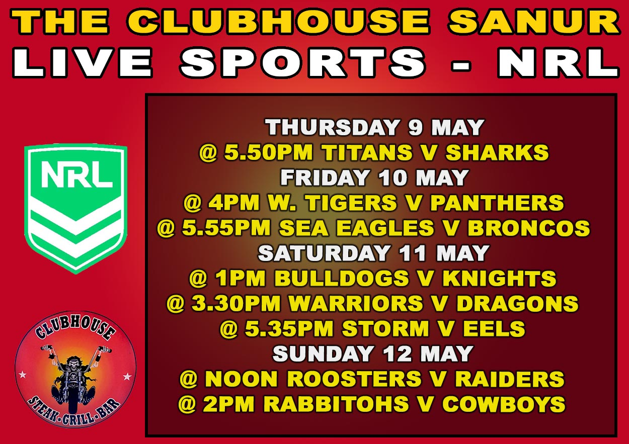 Live Sports NRL Rugby | Clubhouse - Steak, Grill & Bar in Sanur