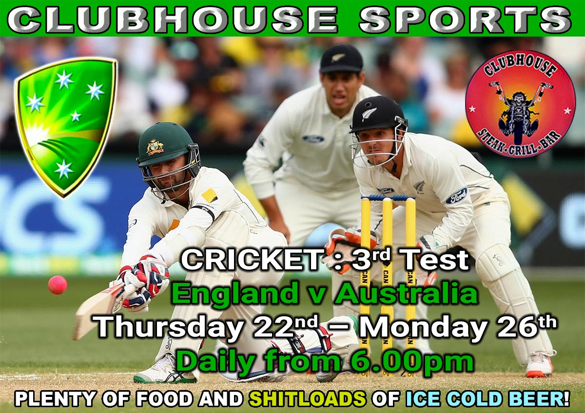 Clubhouse Sanur Presents CRICKET : 3rd Test LIVE