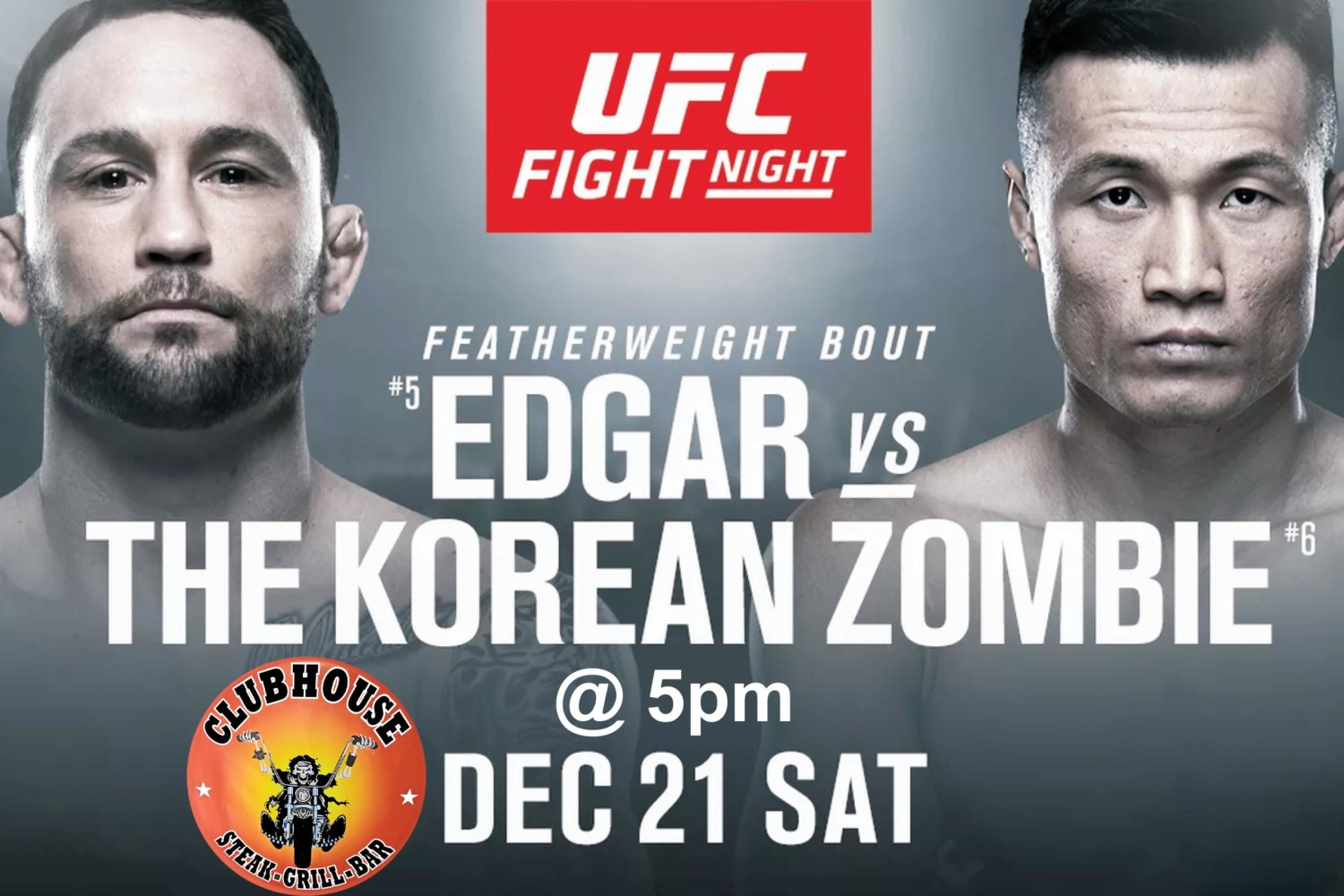 Clubhouse Sanur UFC Featherweight Edgar v Korean Zombie Dec 21 in Bali