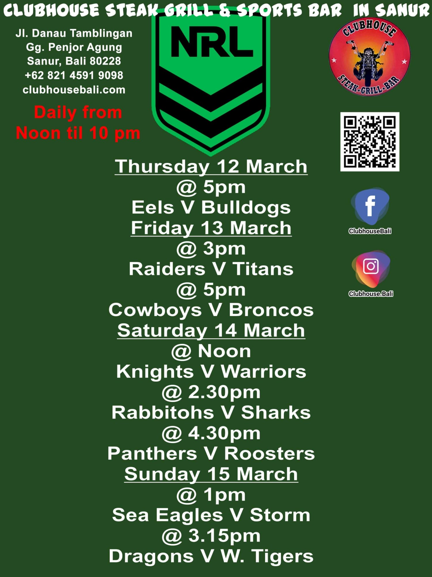 Clubhouse Steak Grill & Sports Bar Presents NRL
