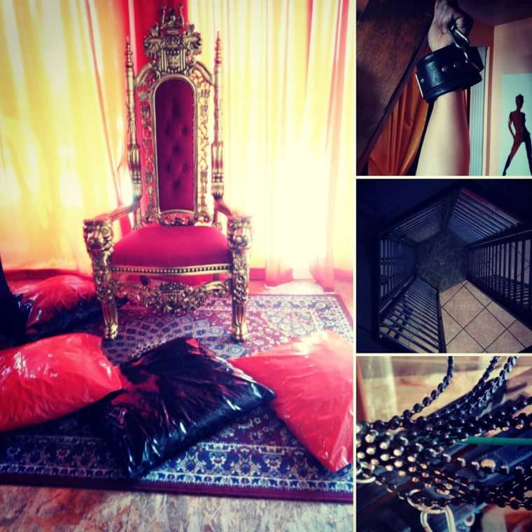 immagine bdsm mista con trono mistress e schiava legata con catena frusta e gabbia