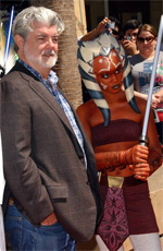 George Lucas and Ashoka at TCW premiere (Albert L. Ortega / PR Photos)