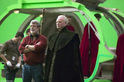 George Lucas and Ian McDiarmid on set, chillin' like a Time Lord
