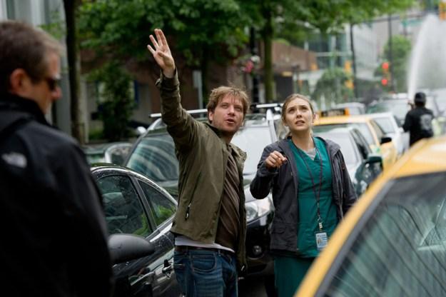 Gareth Edwards directs Elizabeth Olsen in 2014's Godzilla