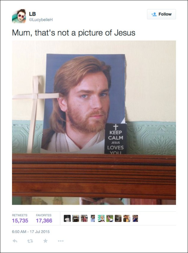 @LucybelleH: Mum, that's not a picture of Jesus