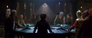 GENERAL ORGANA. And her Tardis control console. (So British!) Note Billie Lourd, left, and Admiral Ackbar, right. Bonus points to anyone who can come up with the best reason for President Snow (far left) to be allied with the Resistance.
