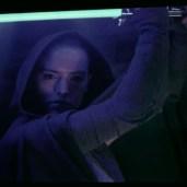 Rey with the saber (TLJ BTS)
