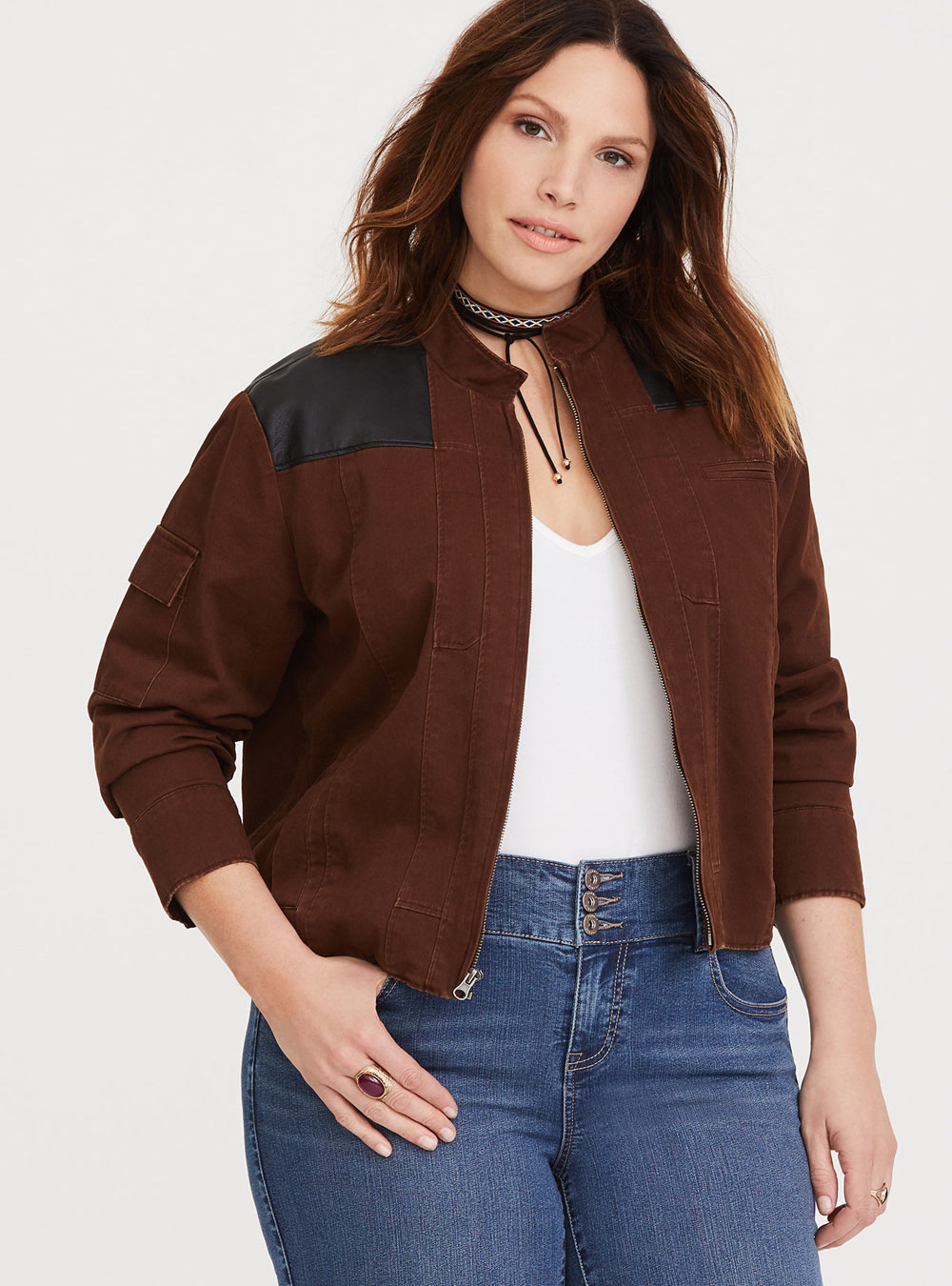 b776d64e412 Torrid Her Universe Solo faux leather twill jacket – Club Jade