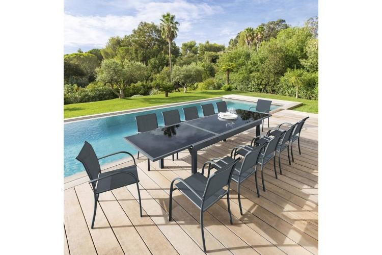 table de jardin extensible piazza hesperide 12 personnes aluminium verre trempe