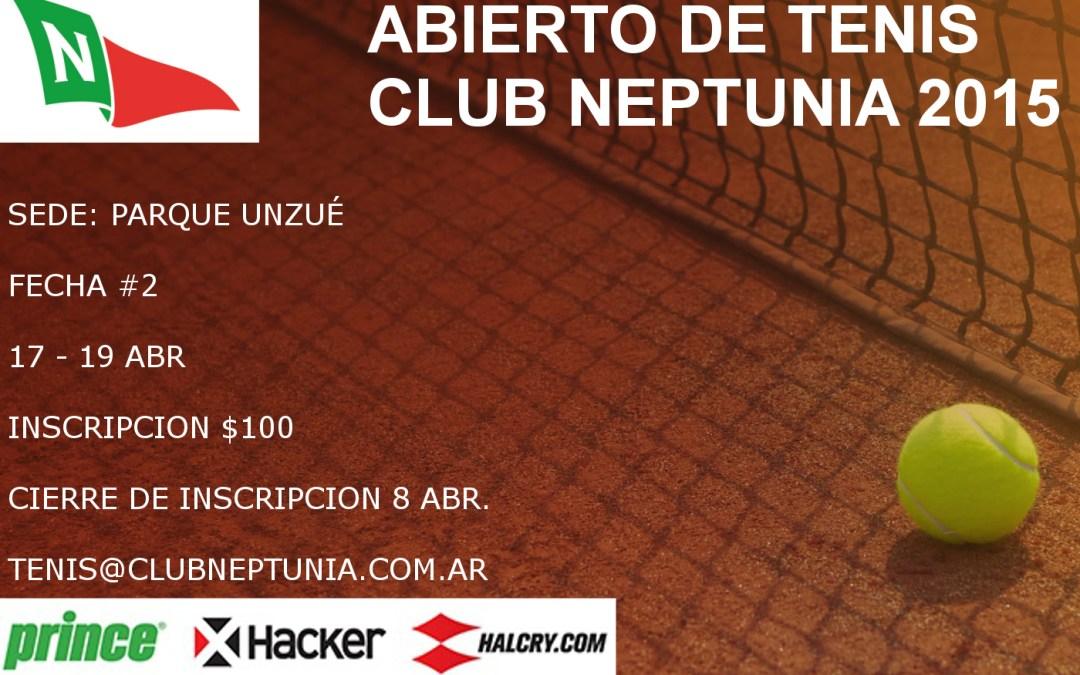 Tenis: Cuadros 2° Fecha Abierto de Tenis del Club Neptunia 2015.