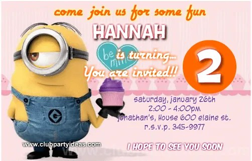 custom minion birthday invitations