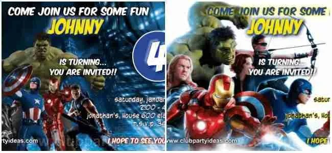 the avengers birthday invitations template