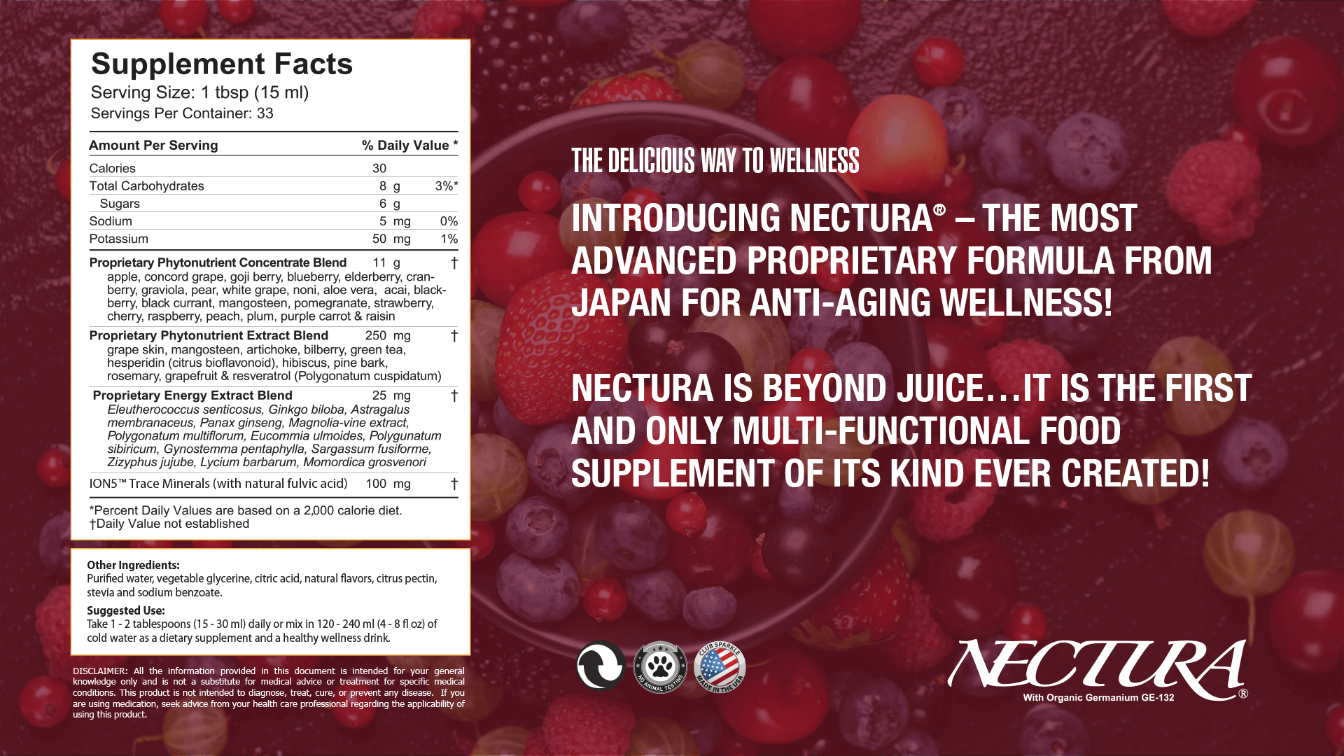 """An advertisement for Nectura that says """"The delicious way to wellness. Introducing Nectura - the most advanced proproetary formila from Japan for anti-aging wellness! Nectura is beyond juice... It is the first and only multi-functional food supplement of its kind ever created!"""""""