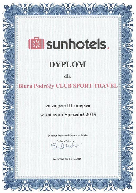 sunhotel dyplom dla biura podróży