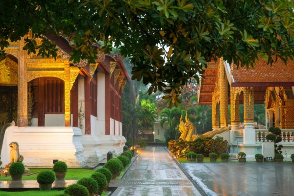 Cheap places to travel - Wat Phra Singh Temple at night, Chiang Mai, Thailand.