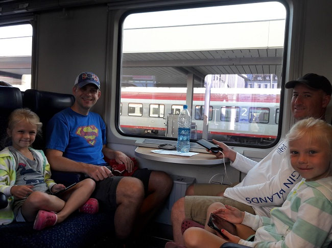 family travel to europe - train trip
