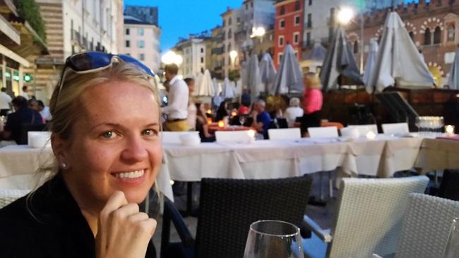 family trip to europe - verona piazza erbe at night