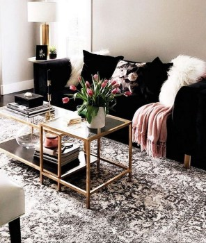 Adorable Black Living Room Ideas That Looks Cool45