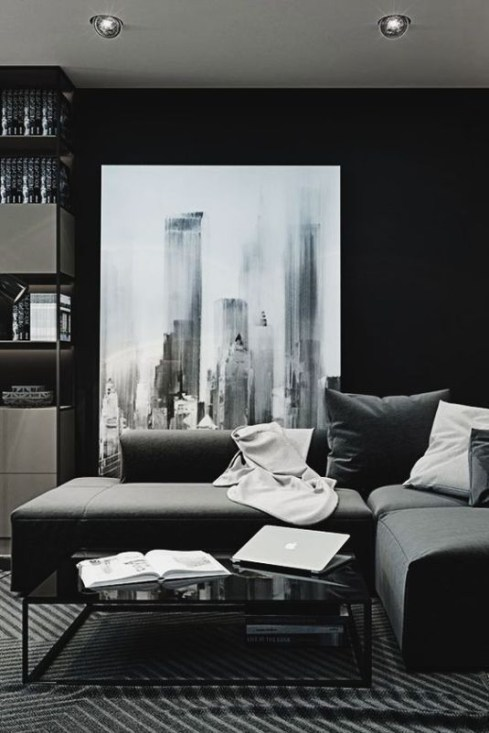 Adorable Black Living Room Ideas That Looks Cool47