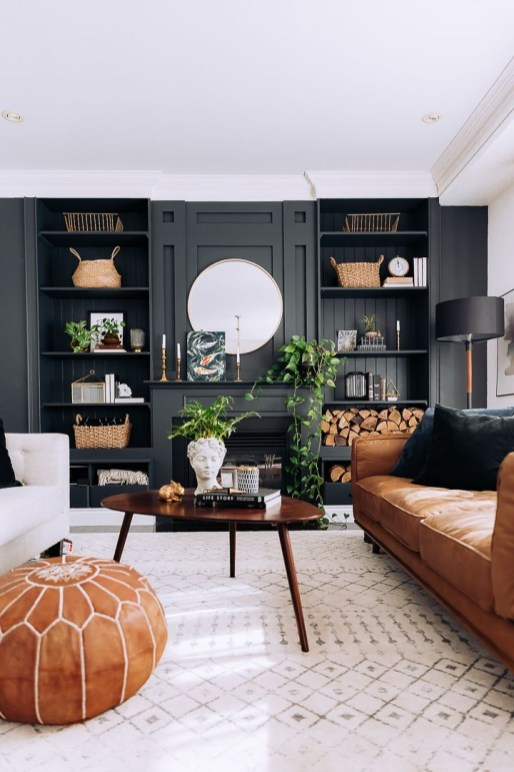 Adorable Black Living Room Ideas That Looks Cool49