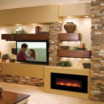 Awesome Winter Home Decoration Design Ideas With Unique Fireplace35