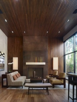 Brilliant Living Room Wood Ceiling Design Ideas That You Should Try27