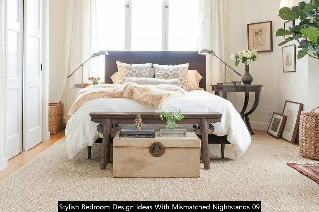 Stylish Bedroom Design Ideas With Mismatched Nightstands 09