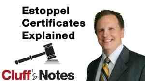 Estoppel Certificates Explained Cluff Law