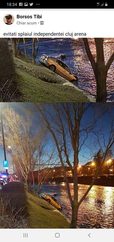 """(Foto) Accident Cluj. Mașină căzută în Someș, lovită puternic. Delia: """"In 3 secunde de la impact, au sărit vreo 10 oameni din mașini sa ajute. Absolut impresionant! De la 112 am fost redirecționată rapid la pompieri ..."""" 3"""