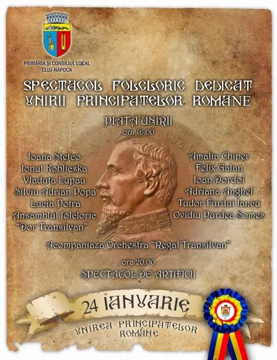 Ziua de 24 Ianuarie, sărbătorită la Cluj: Concerte, foc de artificii şi intrare liberă la patinoar
