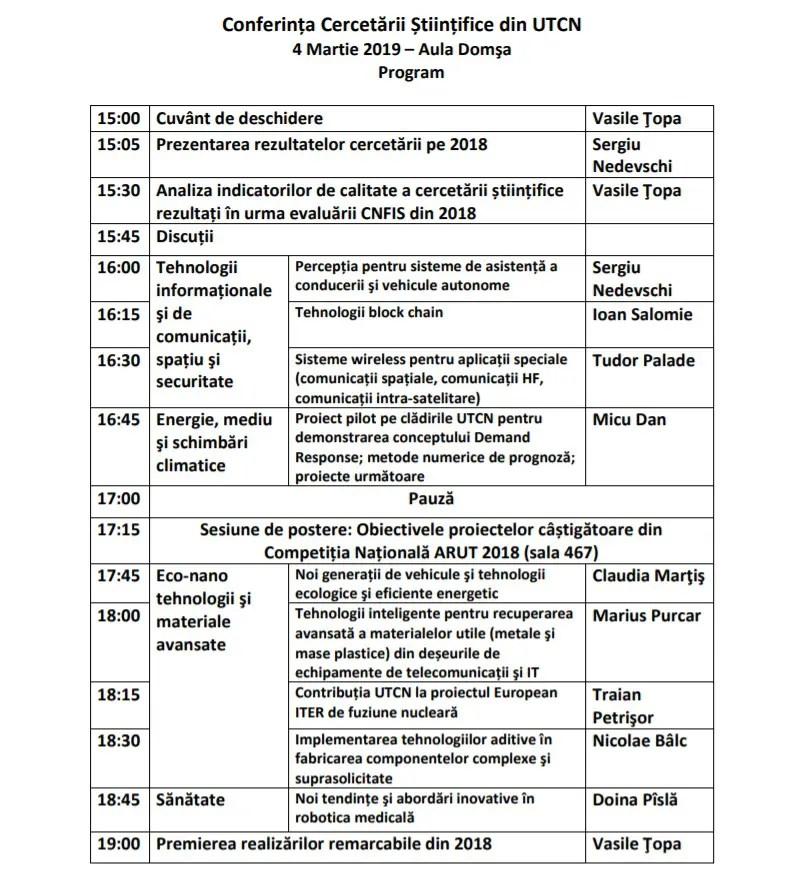 Conferinţa Cercetării Ştiinţifice din UTCN – 2019