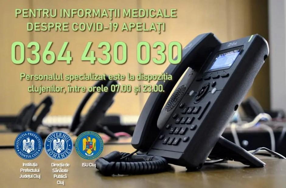 0364 430 030 - numărul de telefon la care clujenii pot suna pentru a primi informaţii despre Covid-19