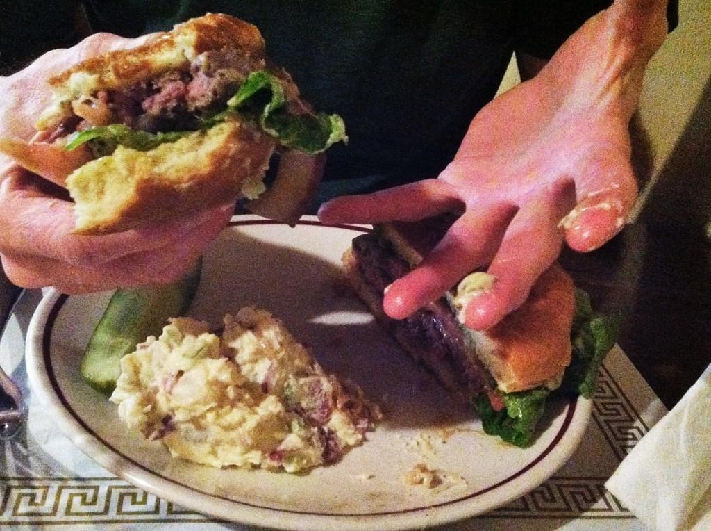HOW burger, bitten