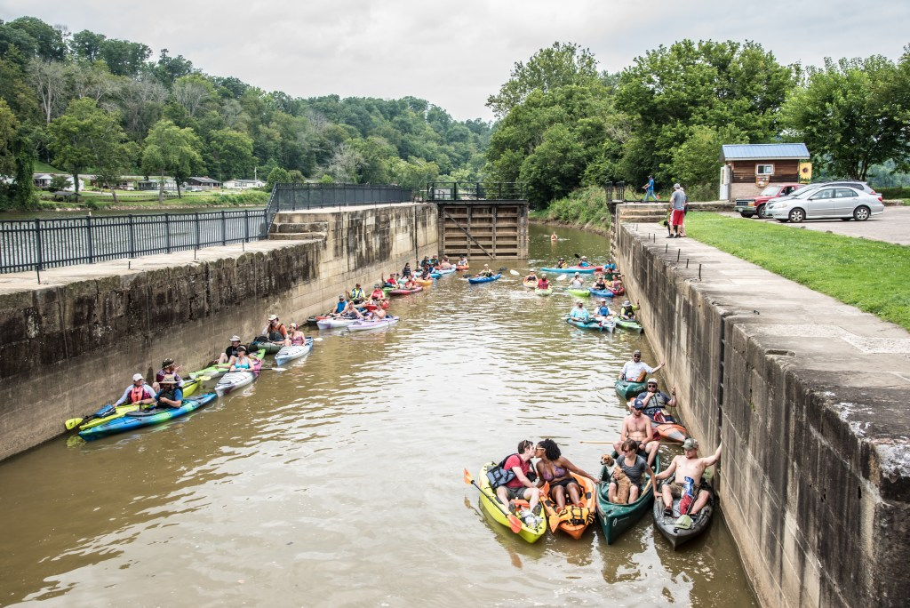 Kayaks during Rivers, Trails and Ales Festival