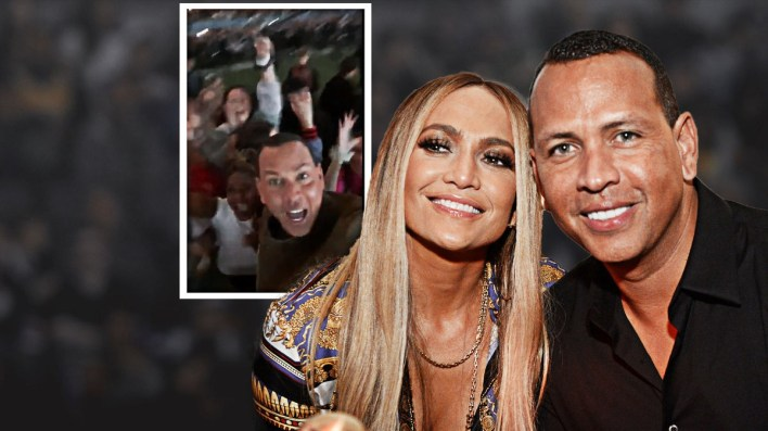 Super Bowl video: Alex Rodriguez in the crowd cheering for Jennifer Lopez