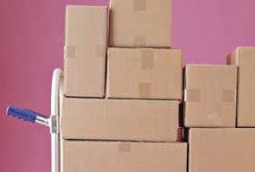 Cardboard boxes help organize