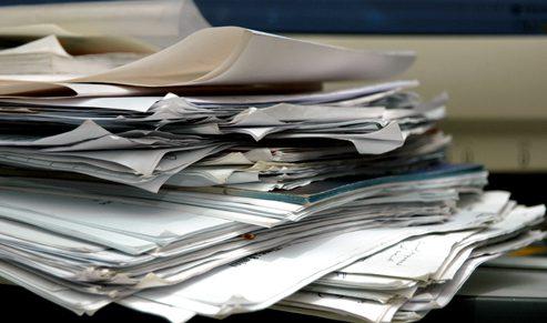Going through paperwork