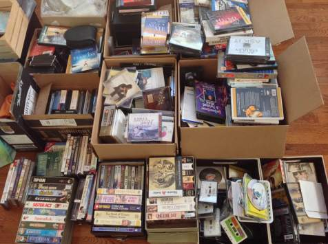 Lots of music, movies and audio books stored in boxes....