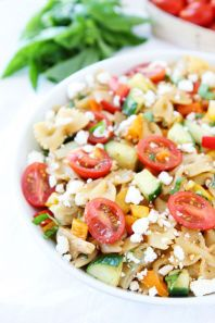 This 20-minute pasta salad features feta, basil, artichoke hearts, and cucumbers. Get the recipe at Two Peas and Their Pod.